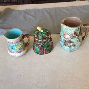 3 lovely faience ware pieces